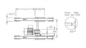 Convoyeurs à bande épaisseur 40 entraînement central double bande moteur interne