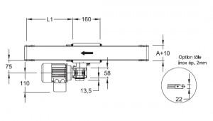 convoyeurs à bande épaisseur 20, entrainement central, largeur 40, 80, 160