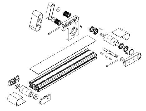 Principaux éléments d'un convoyeur à bande elcom