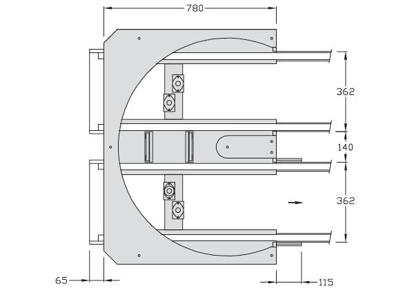 Retours 180° TLM 2000 Largeur 400 transfert linéaire modulaire elcom