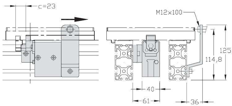 Butée 200 amortie pneumatique transfert linéaire modulaire elcom