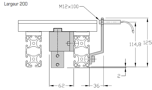 Butées TLM 2000 courtes Largeurs 200 transferts linéaires modulaires elcom
