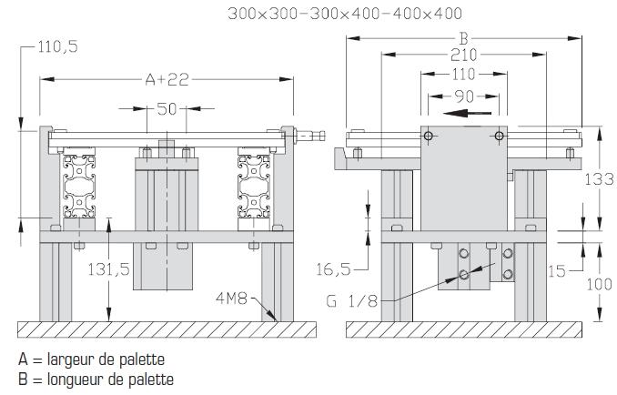 Indexages sur table amortis Largeurs 200 - 300 - 400 transfert linéaire elcom