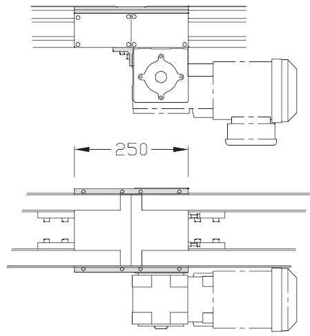Jonctions TLM 2000 pour pour motorisation courroie crantée lourde transferts linéaires modulaires elcom