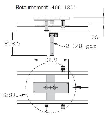 Retournements TLM 2000 180° Largeurs 400 transfert linéaire modulaire elcom