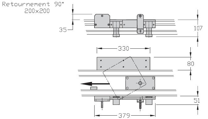 Retournements TLM 2000 90° Largeurs 200 transferts linéaires modulaires elcom