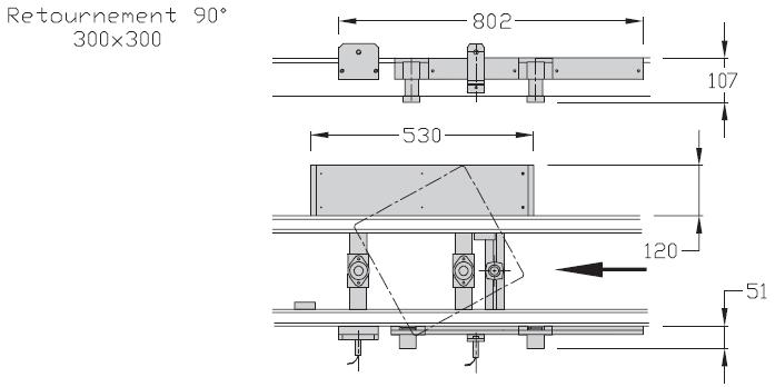 Retournements TLM 2000 90° Largeurs 300 transferts linéaires modulaires elcom