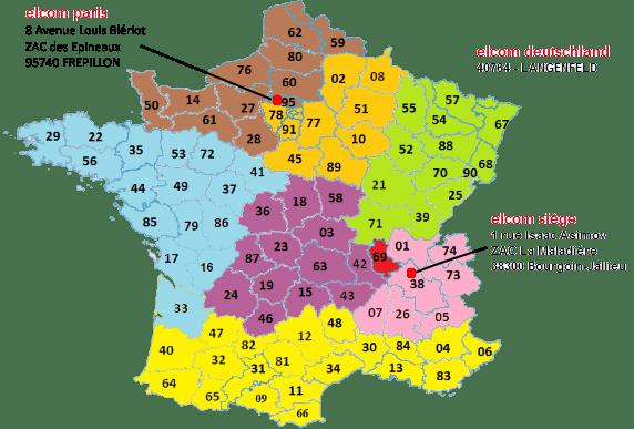 carte commerciaux elcom en France